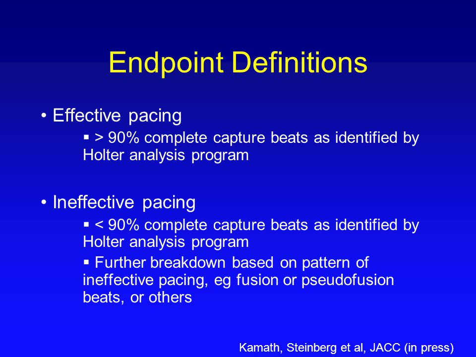 Endpoint Definitions Effective pacing Ineffective pacing