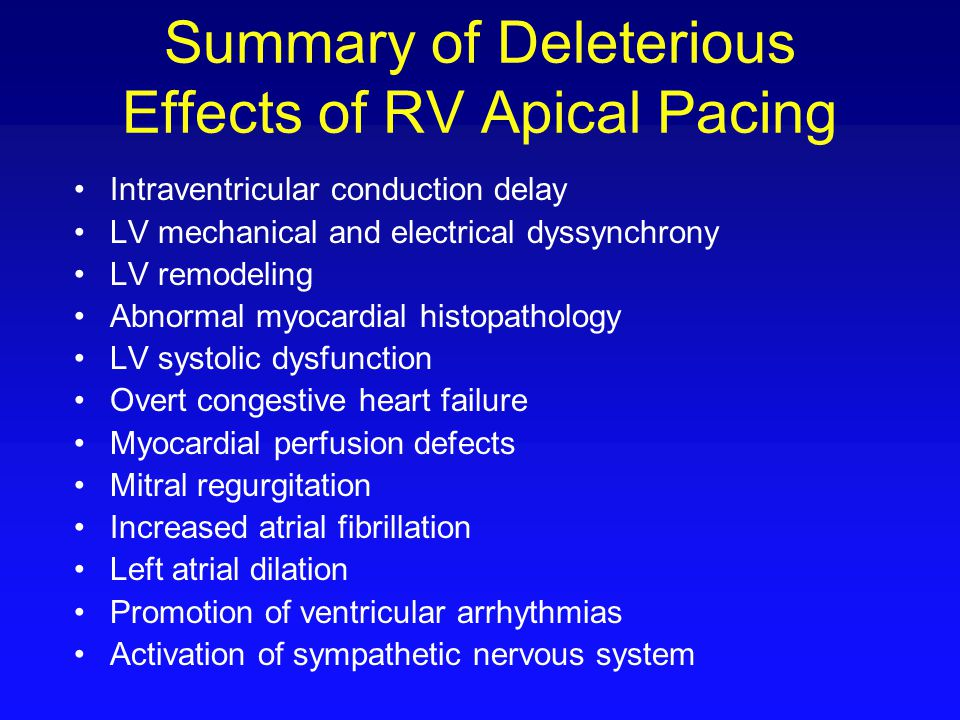 Summary of Deleterious Effects of RV Apical Pacing