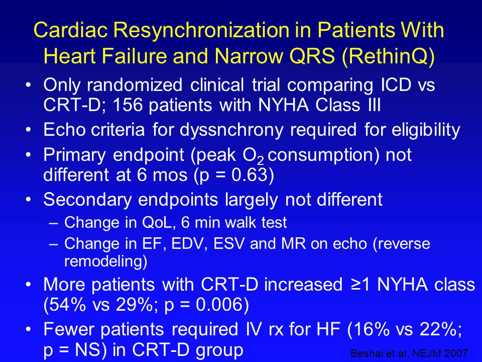 Cardiac Resynchronization in Patients With Heart Failure and Narrow QRS (RethinQ)