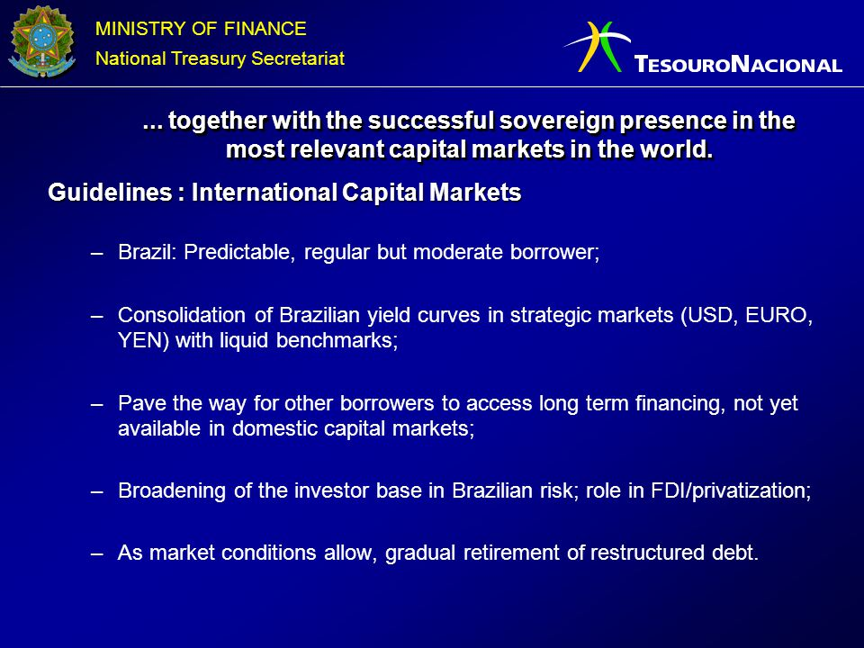 Guidelines : International Capital Markets