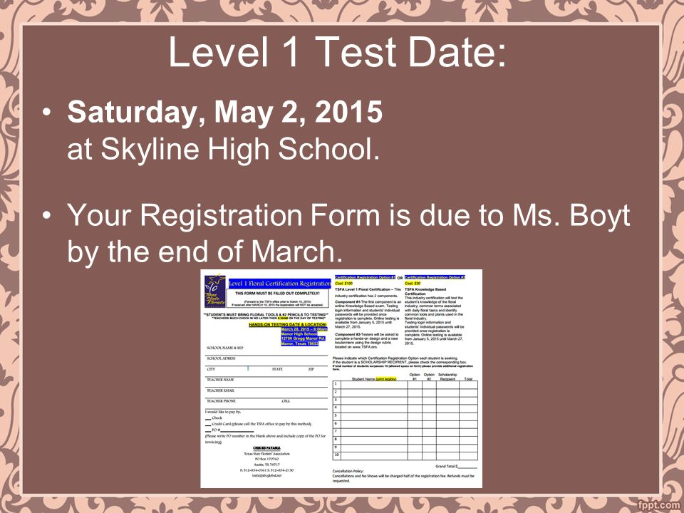 Level 1 Test Date: Saturday, May 2, 2015 at Skyline High School.