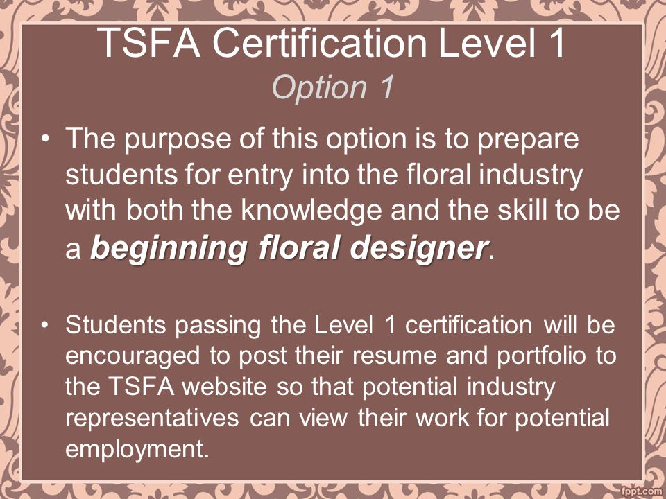 TSFA Certification Level 1 Option 1