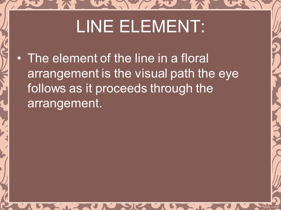 LINE ELEMENT: The element of the line in a floral arrangement is the visual path the eye follows as it proceeds through the arrangement.