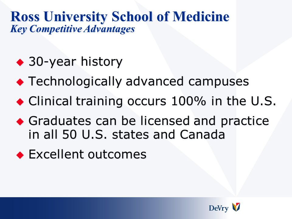 Ross University School of Medicine Key Competitive Advantages
