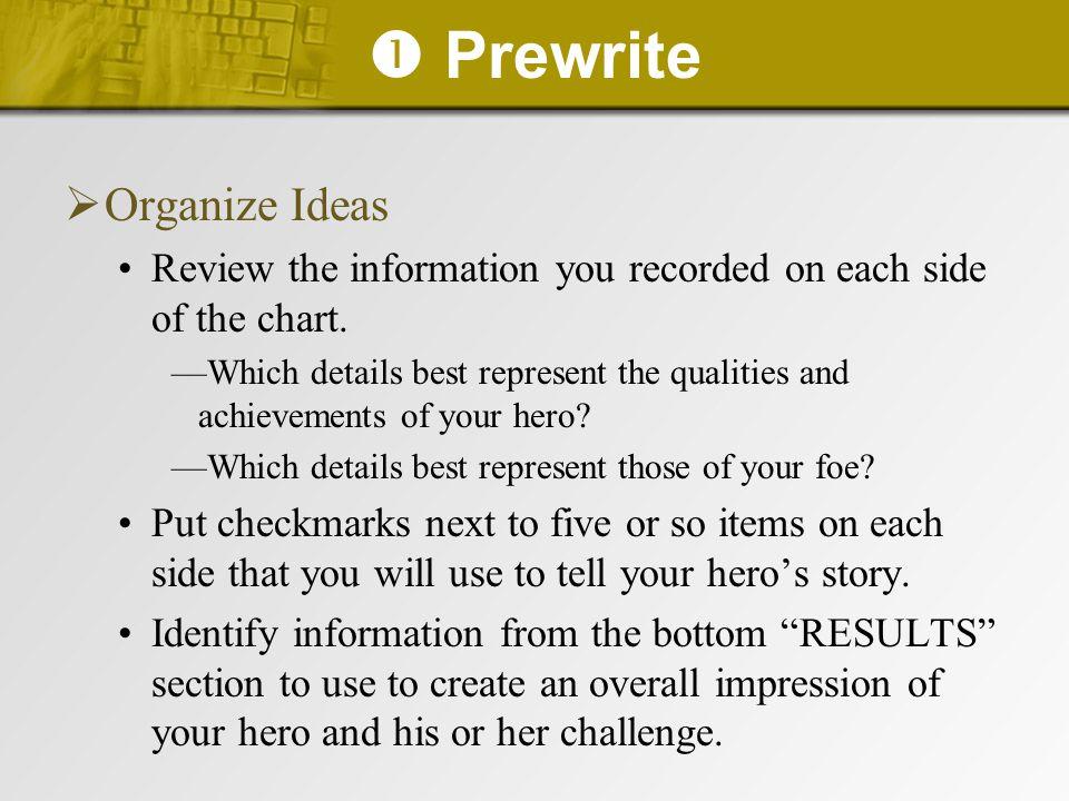  Prewrite Organize Ideas