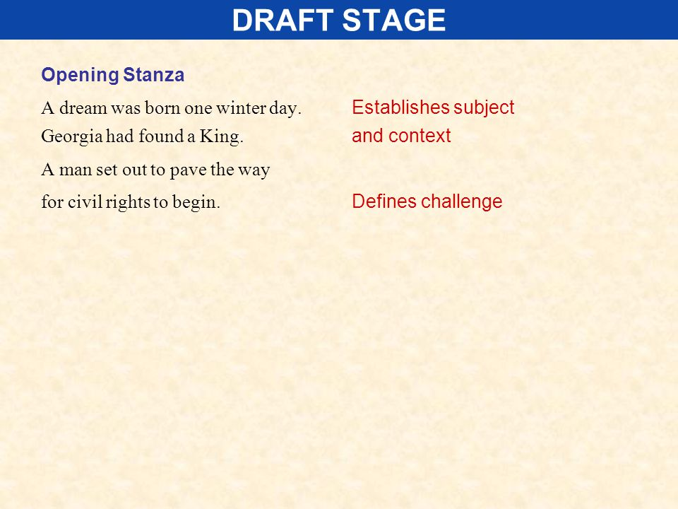 DRAFT STAGE Opening Stanza