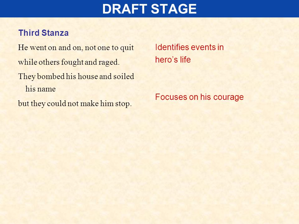 DRAFT STAGE Third Stanza He went on and on, not one to quit