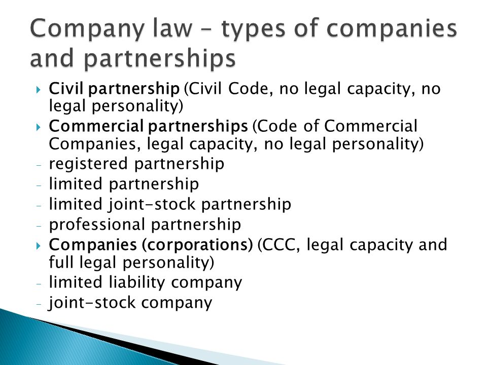 Company law – types of companies and partnerships