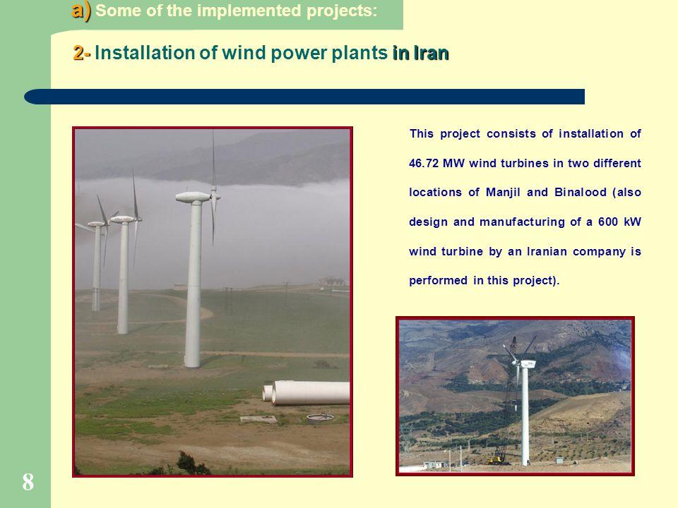 2- Installation of wind power plants in Iran