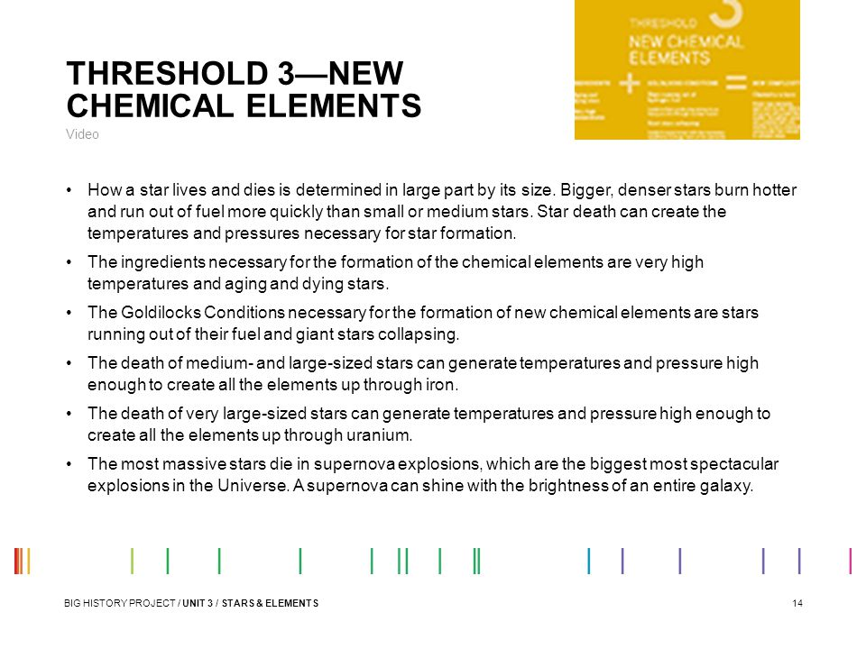 THRESHOLD 3—NEW CHEMICAL ELEMENTS