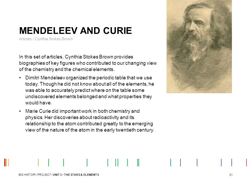 MENDELEEV AND CURIE Articles / Cynthia Stokes Brown.