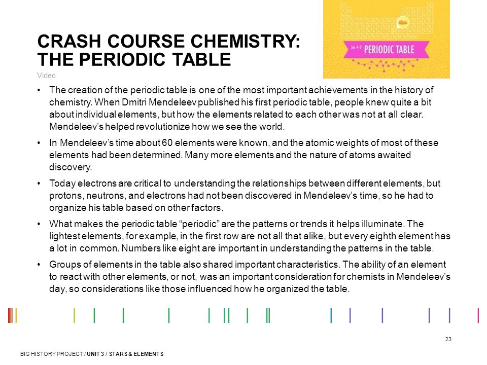 CRASH COURSE CHEMISTRY: THE PERIODIC TABLE