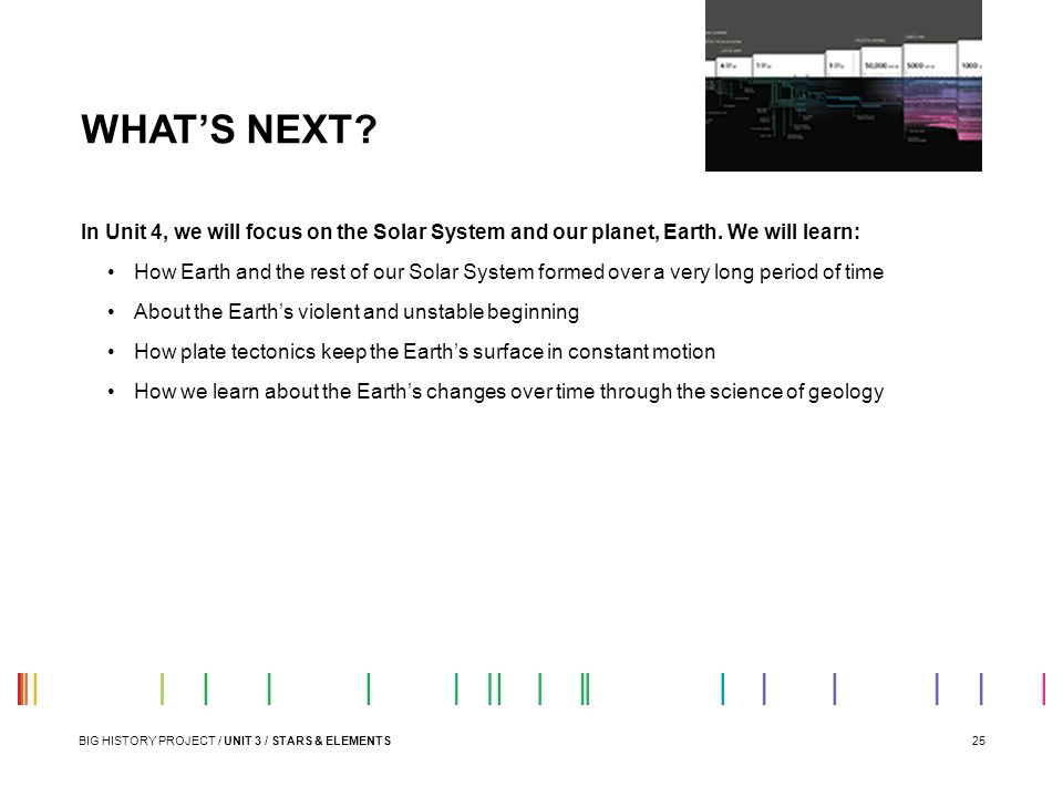 WHAT'S NEXT In Unit 4, we will focus on the Solar System and our planet, Earth. We will learn: