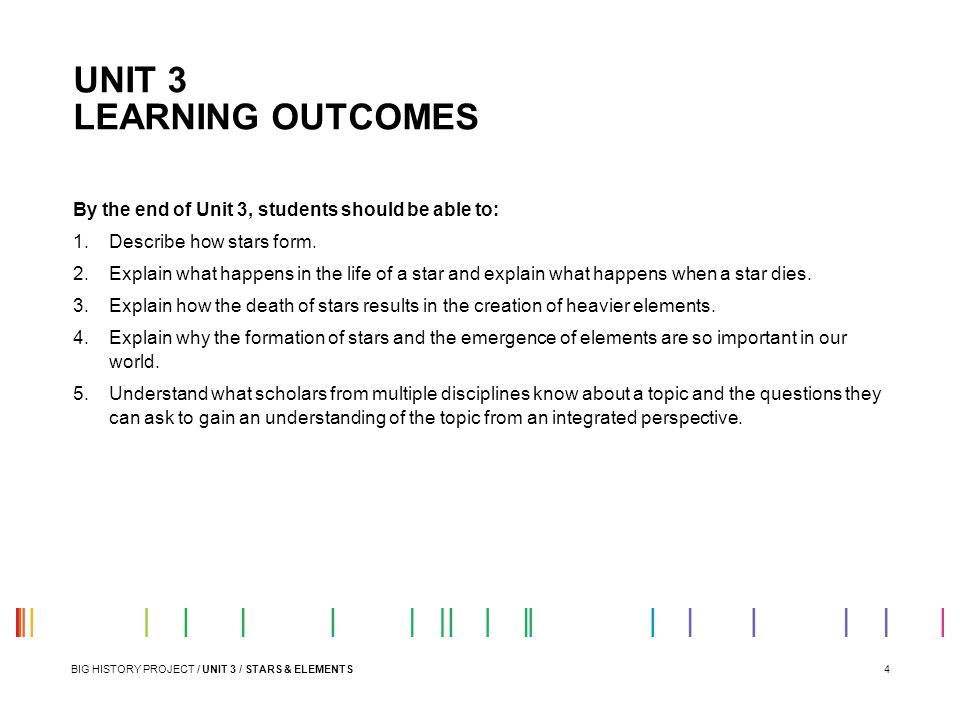 UNIT 3 LEARNING OUTCOMES
