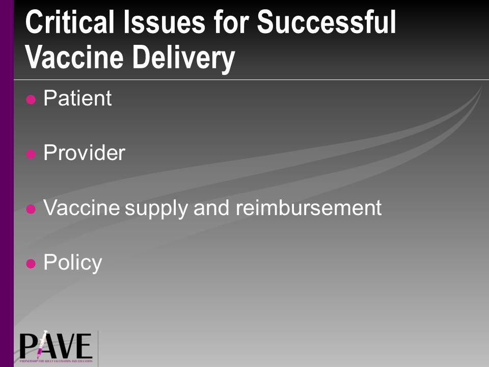 Critical Issues for Successful Vaccine Delivery