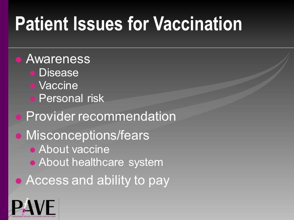 Patient Issues for Vaccination