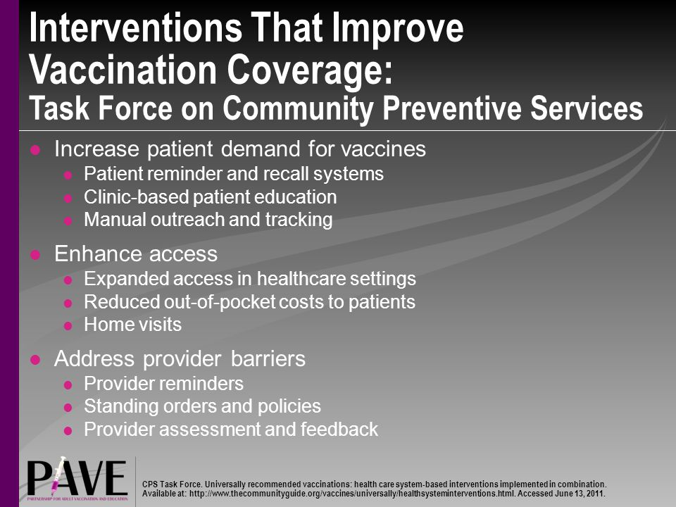 Interventions That Improve Vaccination Coverage: Task Force on Community Preventive Services