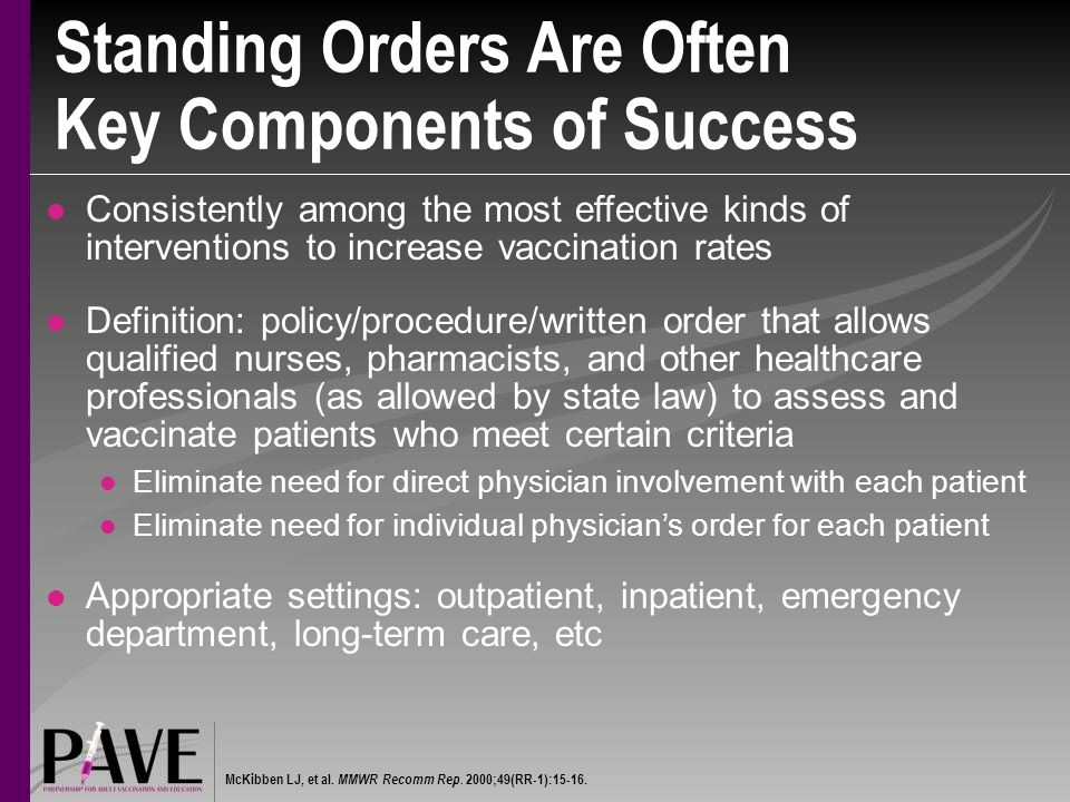 Standing Orders Are Often Key Components of Success