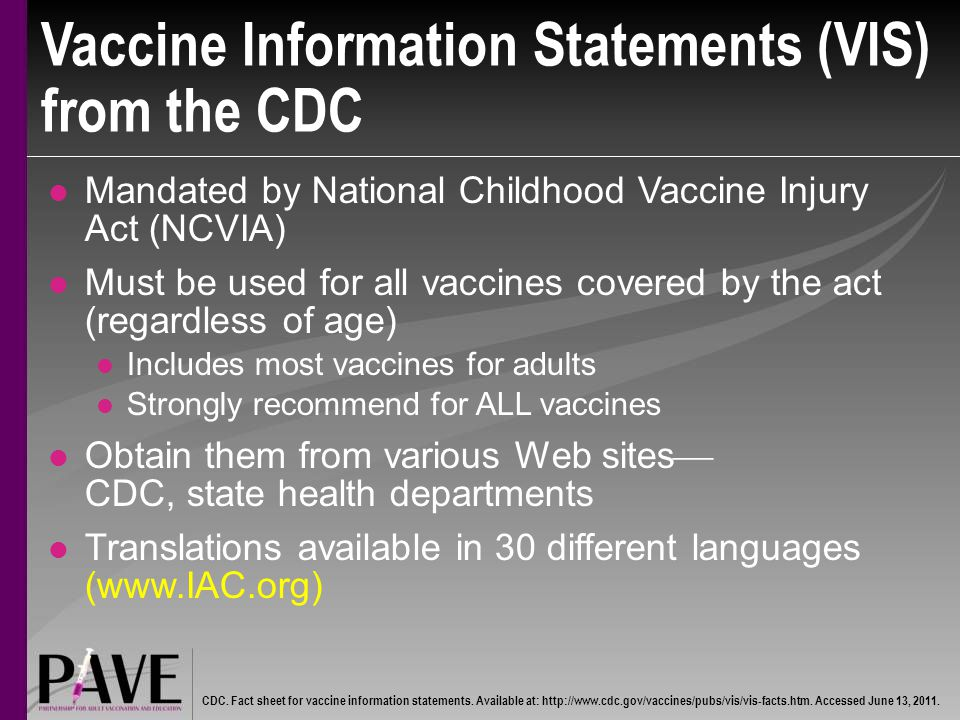 Vaccine Information Statements (VIS) from the CDC