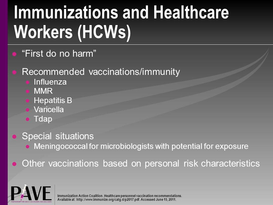 Immunizations and Healthcare Workers (HCWs)
