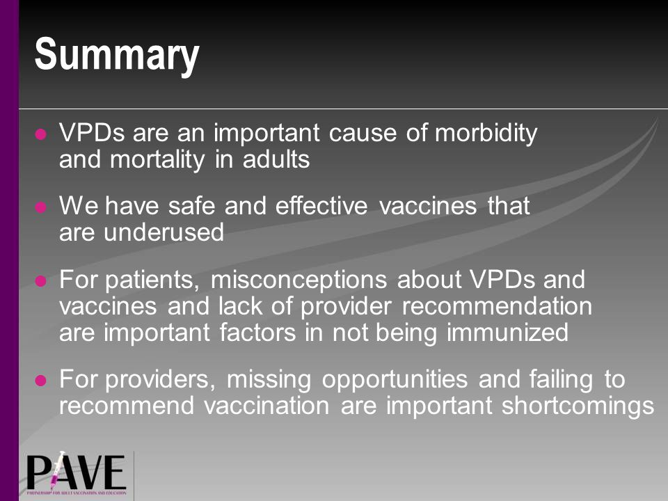 Summary VPDs are an important cause of morbidity and mortality in adults. We have safe and effective vaccines that are underused.