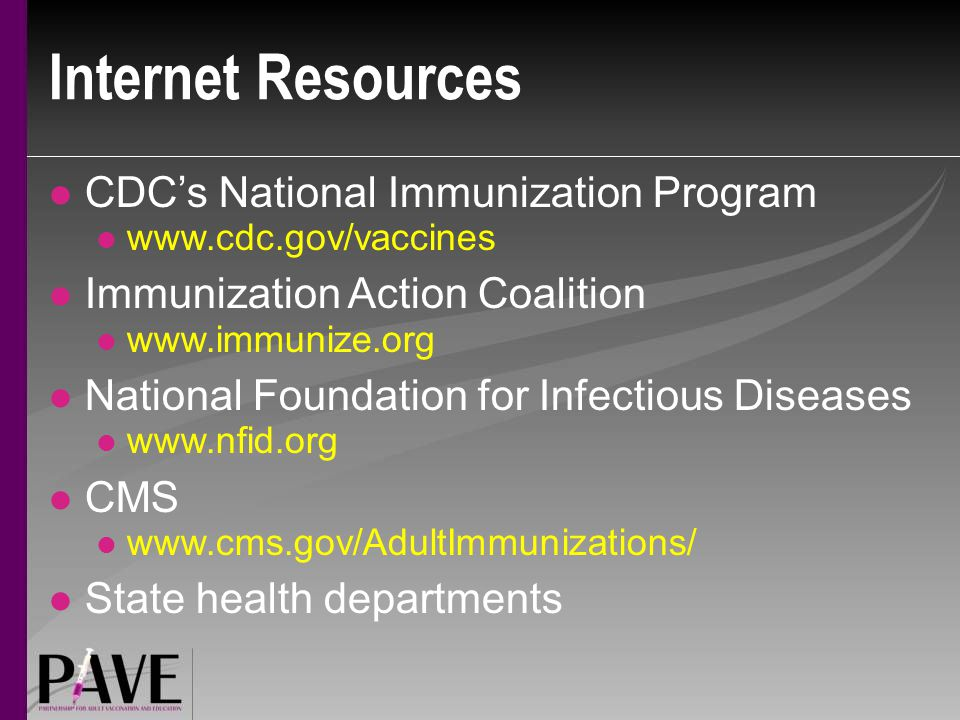 Internet Resources CDC's National Immunization Program