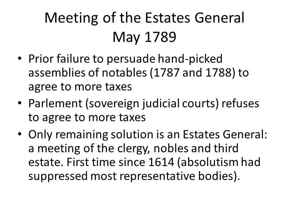 Meeting of the Estates General May 1789