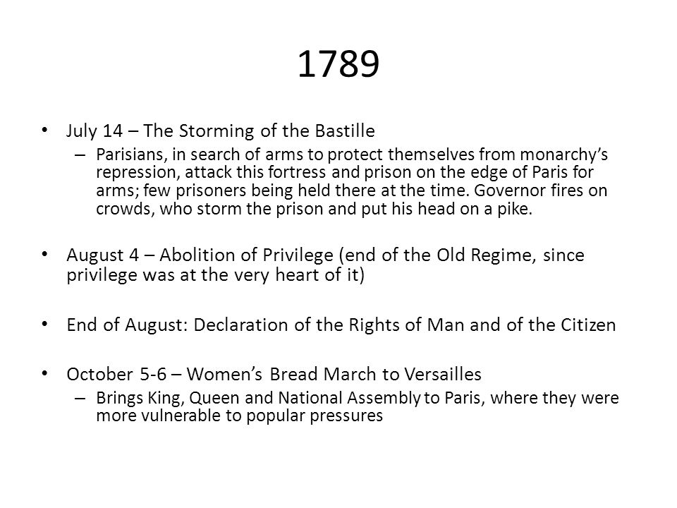 1789 July 14 – The Storming of the Bastille