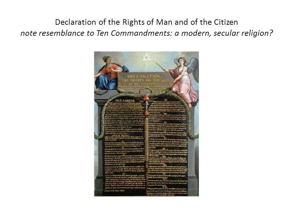 Declaration of the Rights of Man and of the Citizen note resemblance to Ten Commandments: a modern, secular religion