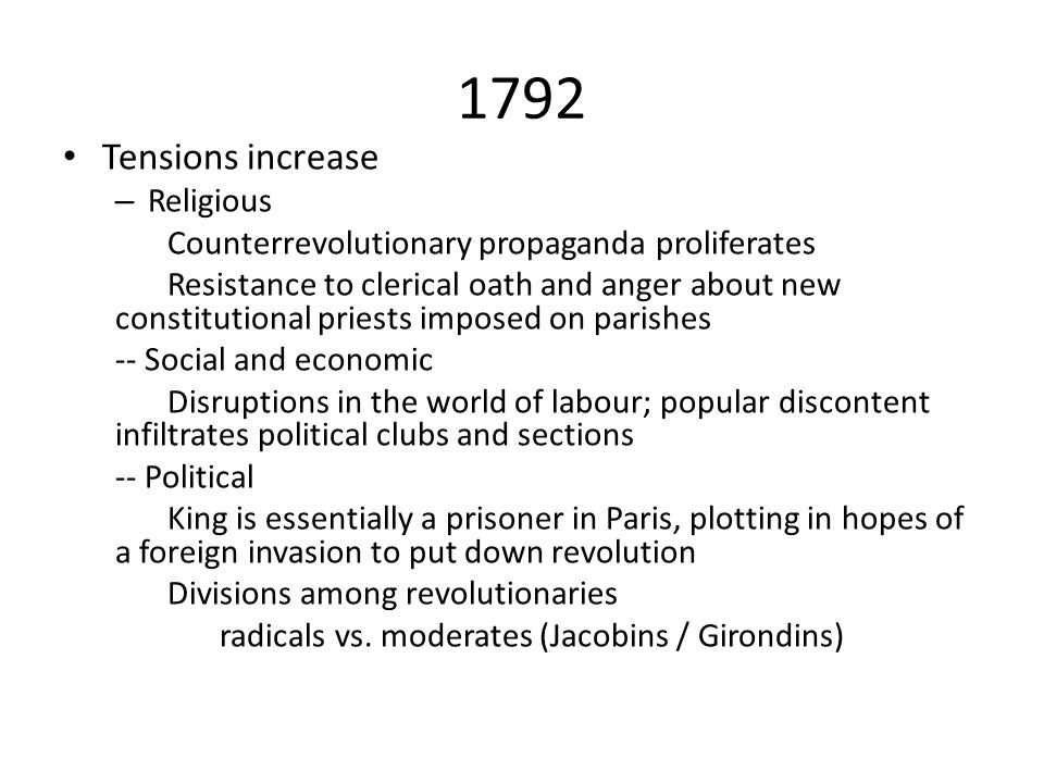 1792 Tensions increase Religious