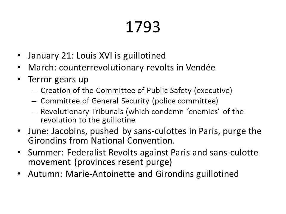 1793 January 21: Louis XVI is guillotined