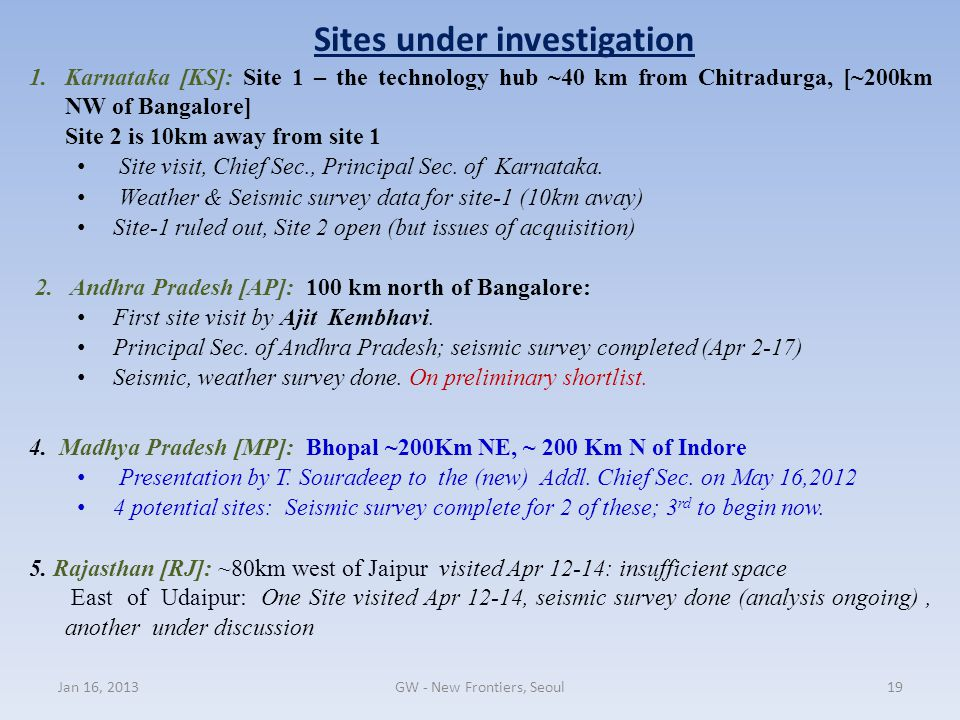 Sites under investigation