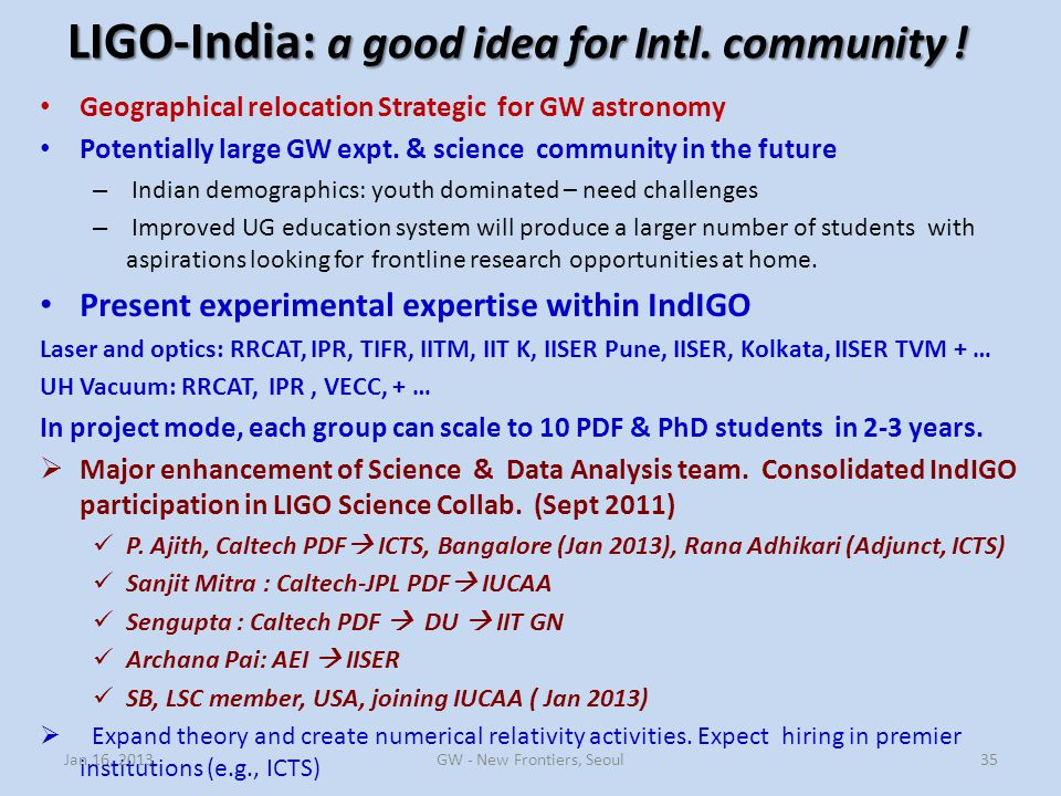 LIGO-India: a good idea for Intl. community !