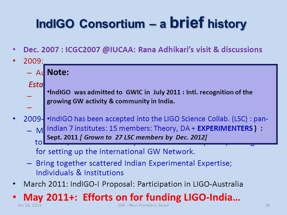IndIGO Consortium – a brief history