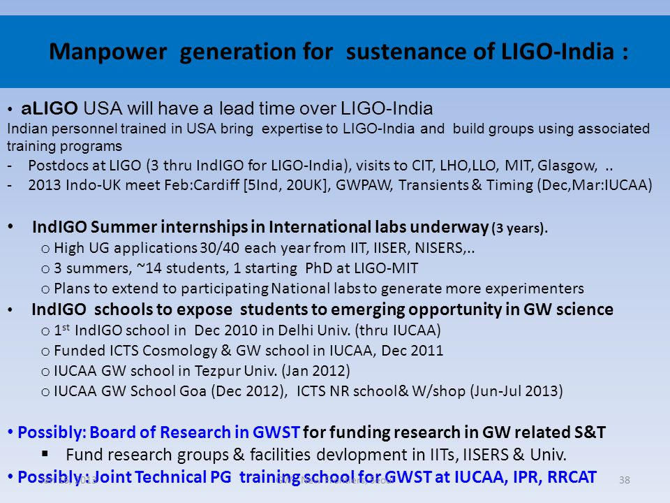 Manpower generation for sustenance of LIGO-India :