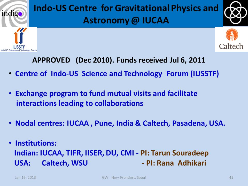 Indo-US Centre for Gravitational Physics and Astronomy @ IUCAA