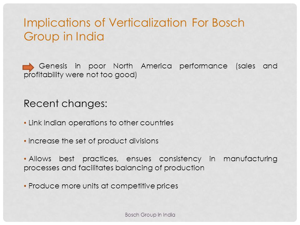Implications of Verticalization For Bosch Group in India