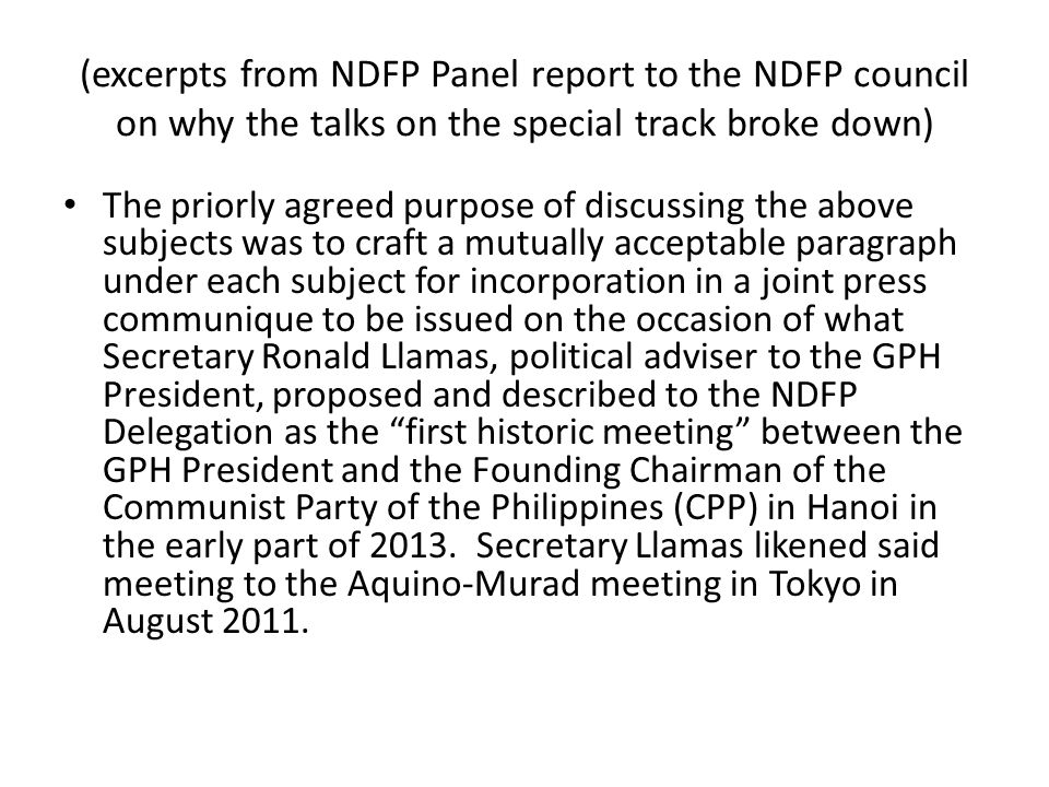 (excerpts from NDFP Panel report to the NDFP council on why the talks on the special track broke down)