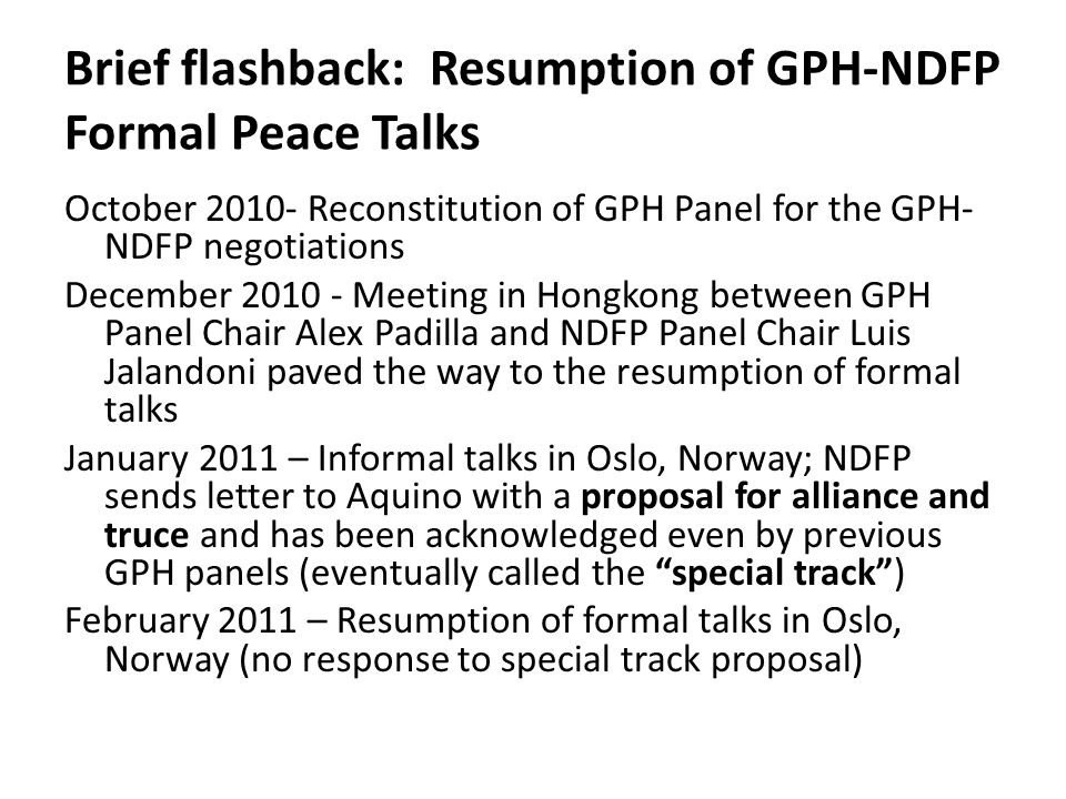 Brief flashback: Resumption of GPH-NDFP Formal Peace Talks