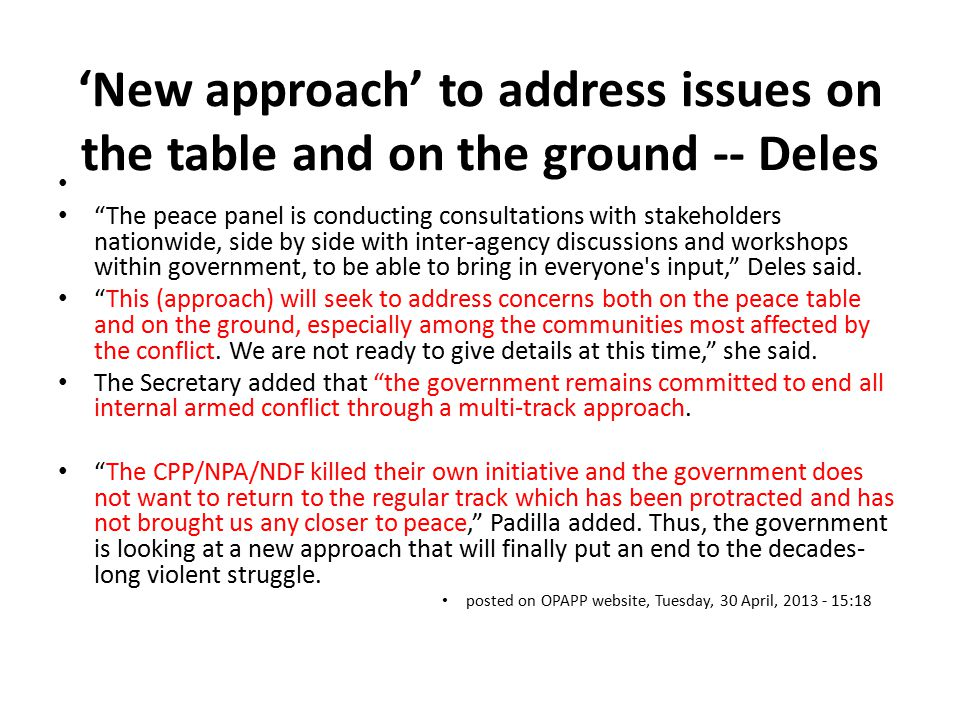 'New approach' to address issues on the table and on the ground -- Deles