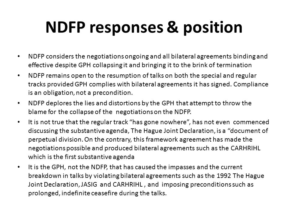 NDFP responses & position