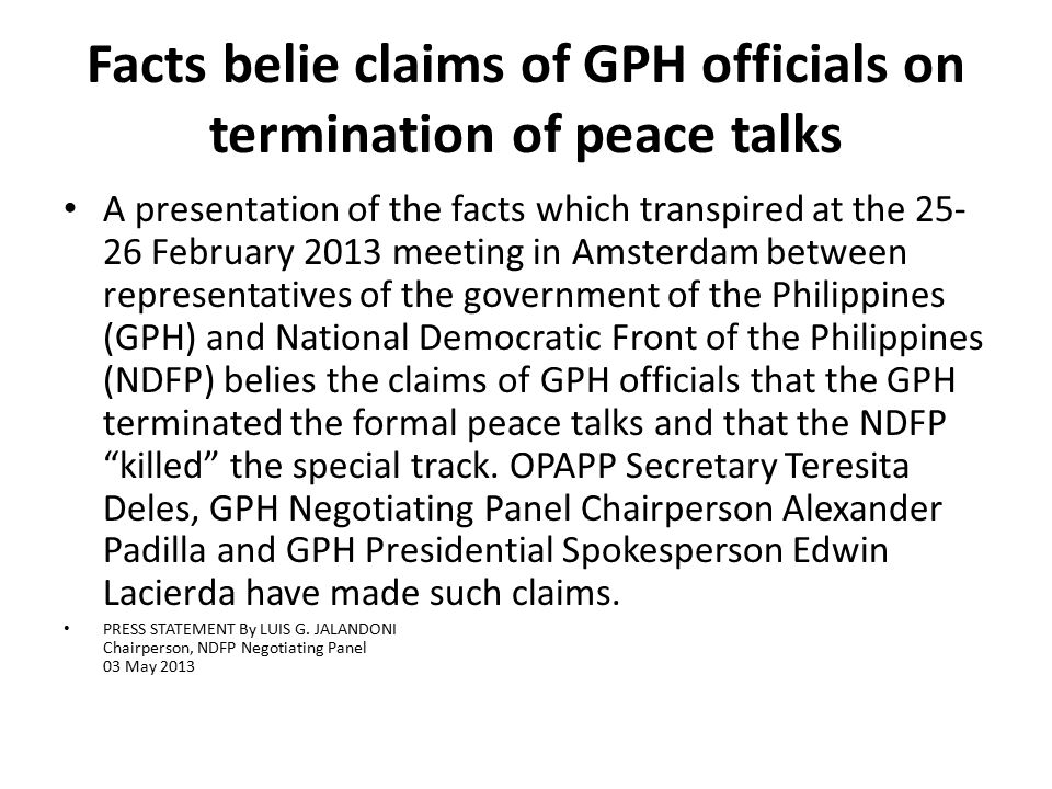 Facts belie claims of GPH officials on termination of peace talks
