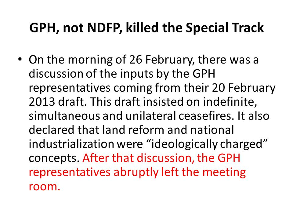 GPH, not NDFP, killed the Special Track