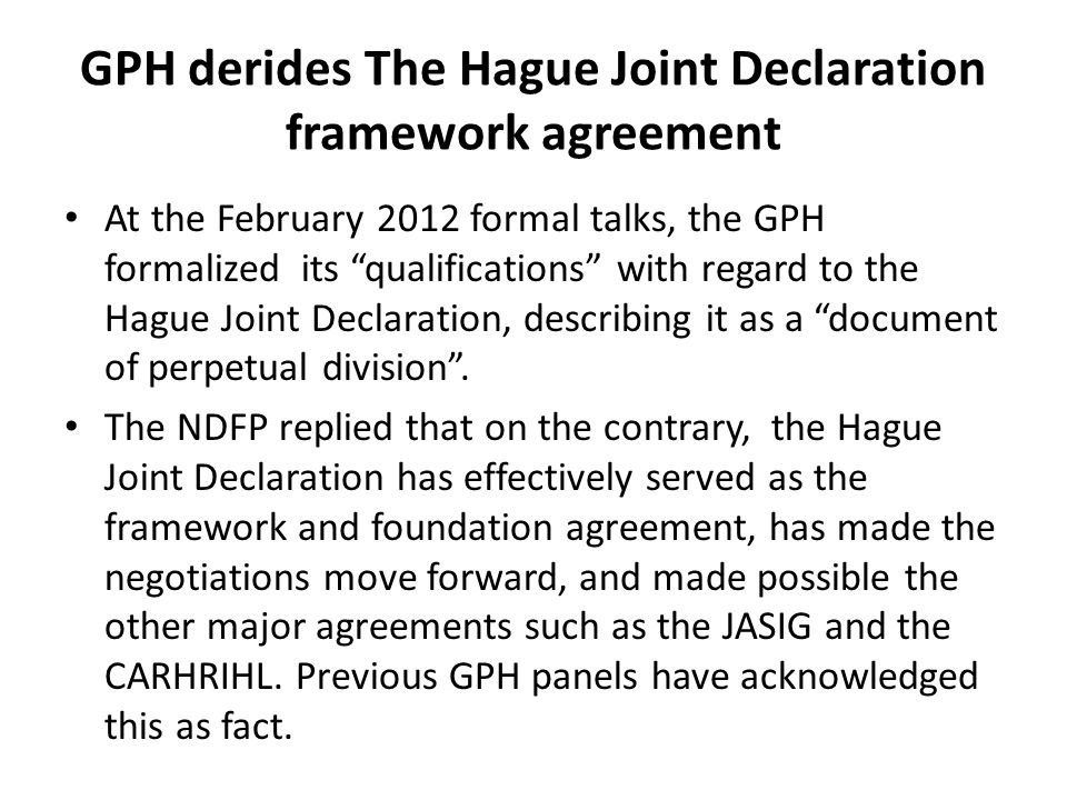 GPH derides The Hague Joint Declaration framework agreement