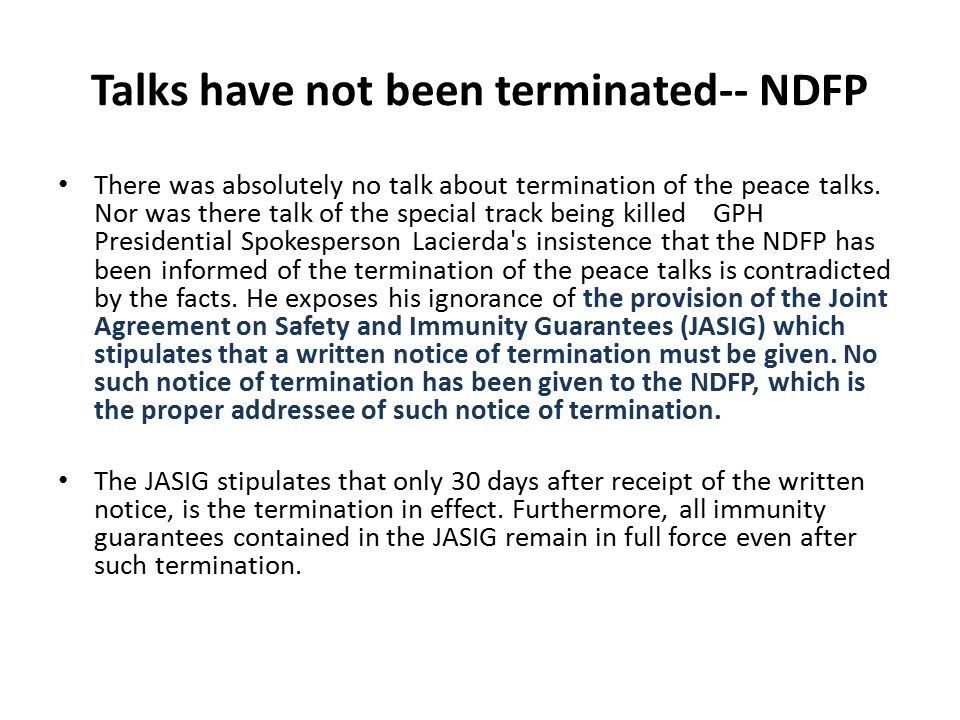 Talks have not been terminated-- NDFP