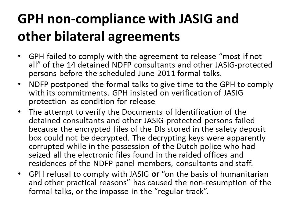 GPH non-compliance with JASIG and other bilateral agreements