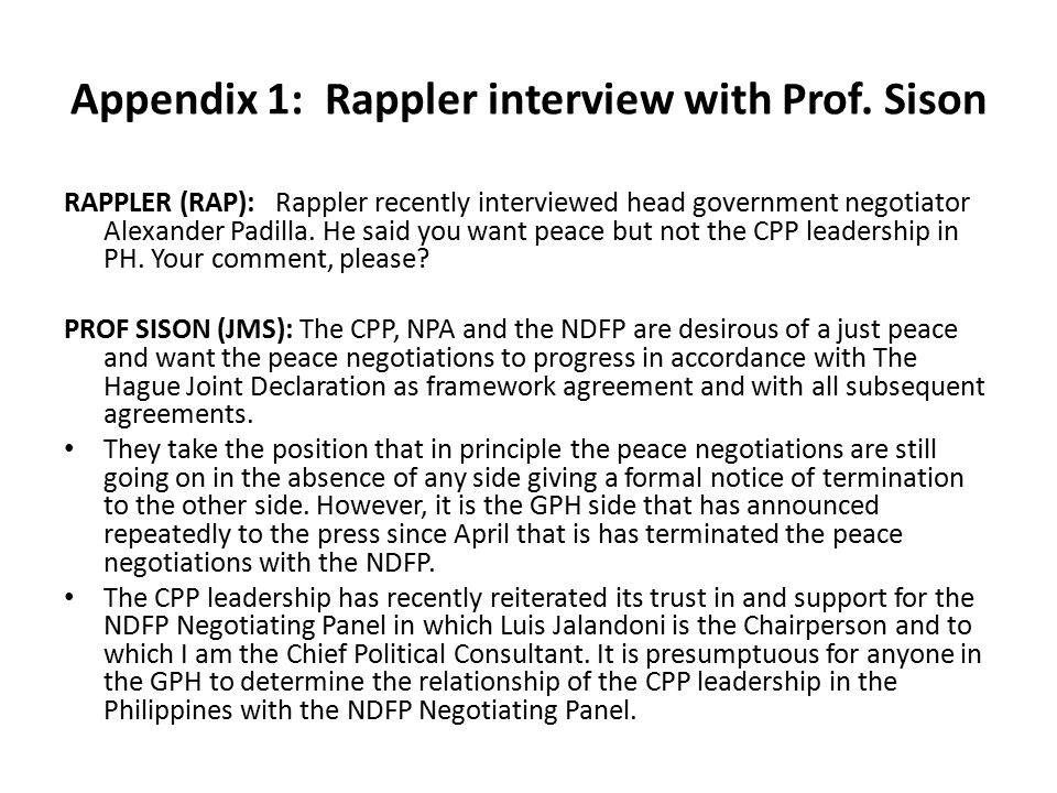 Appendix 1: Rappler interview with Prof. Sison