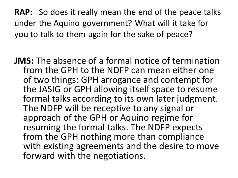 updates on gph-ndfp peace negotiations