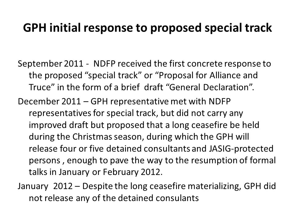 GPH initial response to proposed special track