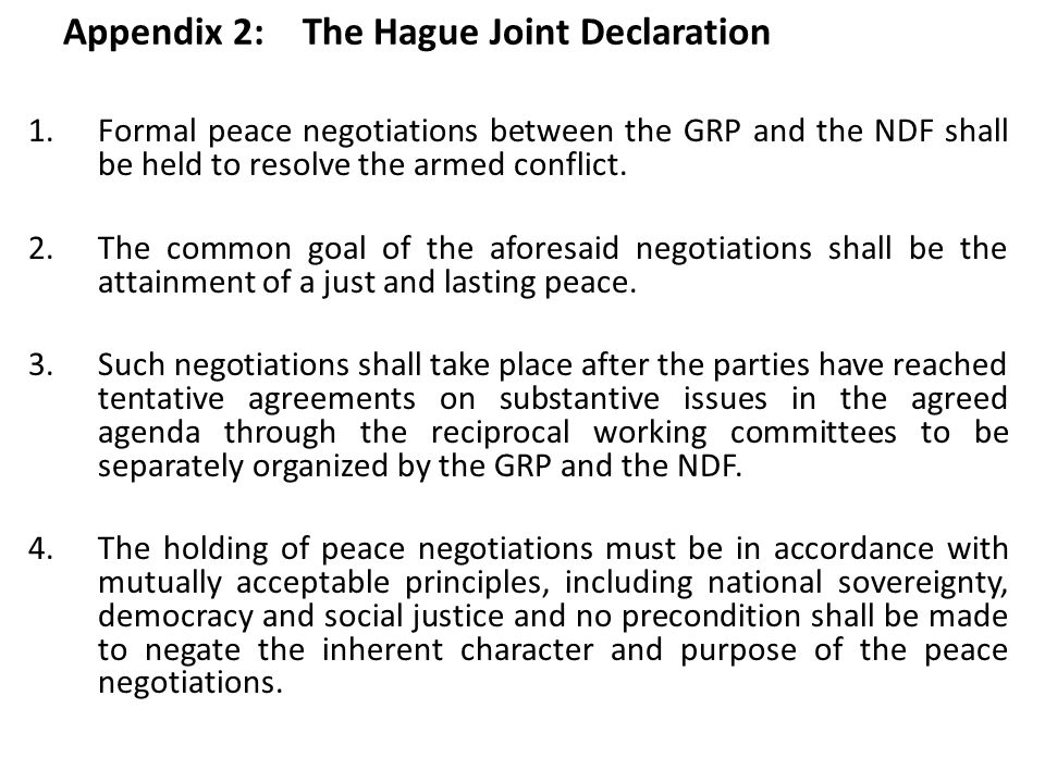Appendix 2: The Hague Joint Declaration